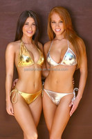 gold sliver sexy two pieces transparent bikini bathing suit