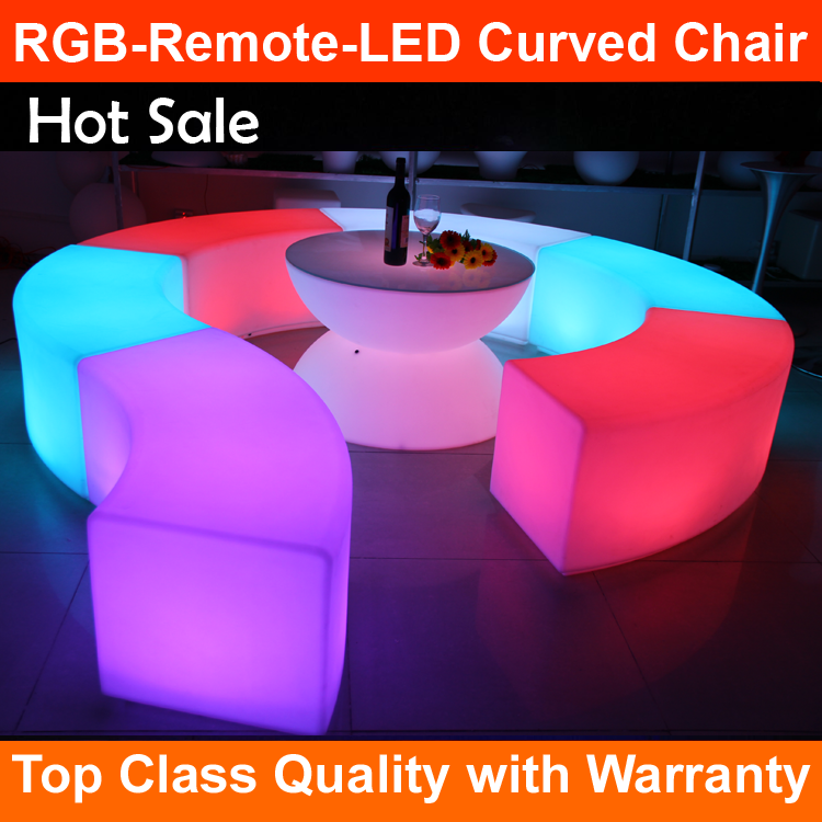 2017 latest design led moon light bar seat for garden decoration pe garden RGB Remote Control curved chair lamp