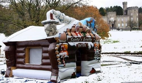 Infatable Santa Claus House ,inflatable wooden christmas house