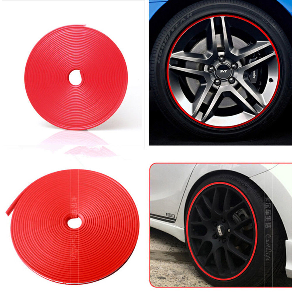 7M Red Tire Guard Protector Line Glue Rubber Moulding for Auto Car Wheel Hub Rim