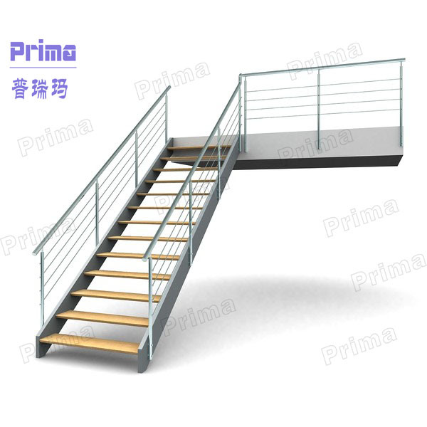 timber tread glass railing stairs /outdoor stairs galvanized