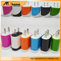 Wholesale travel USB home charger colorful single port phone charger for iPhone samsung with double colors