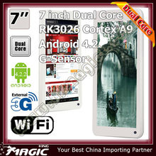 Top-selling 7'' artistic dual core android tablet bluetooth software RK3026 Cortex A9 with all function