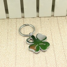 2015 beautiful four leaf custom metal keychain made in China