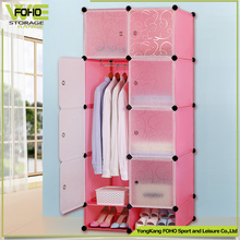 Plastic folding clothes storage wardrobe with black flower colors (FH-AL0530-8)