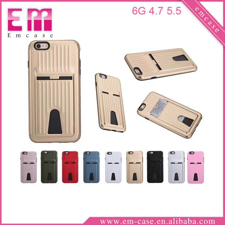 For iPhone 6S/6S Plus Silicone Card Storage Back Mobile Phone Case