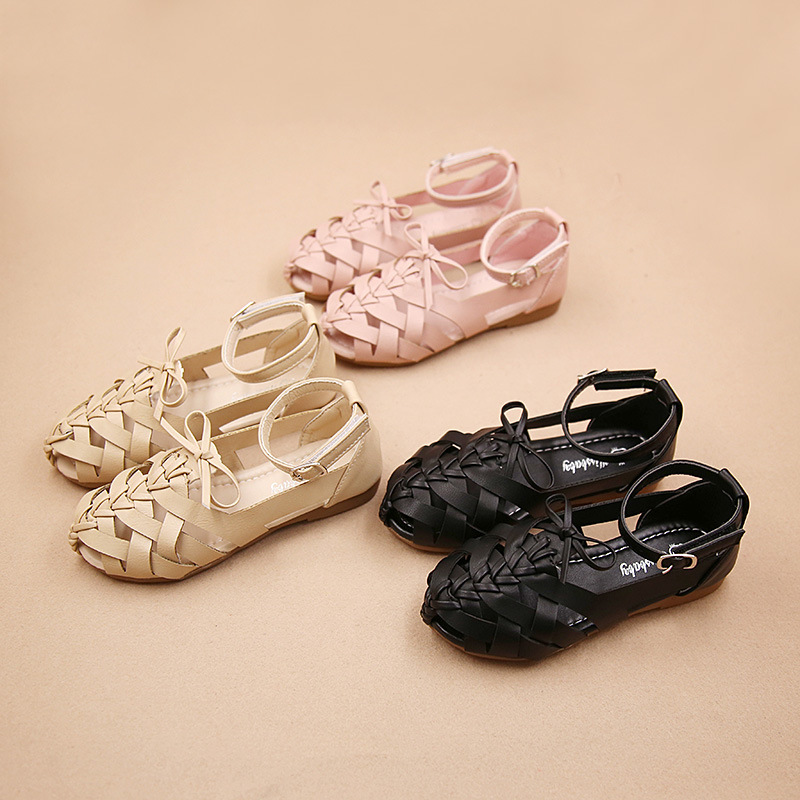 X60803A Infantil Kids Woven Flat Leather Shoes Roman Sandals Beach Shoes