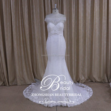 sew on crystal beads ivory bridal gown romantic & rayal wedding dress with real pictures of mermaid