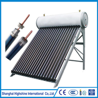 High density 50 tubes pressurized solar vacuum collector Integrated Pressurized Heat Pipe Solar Water Heater System