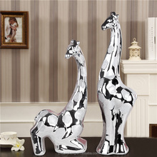 wholesale ceramic silver frosted giraffe decor figurines for home decoration ornament