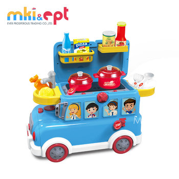 Newest popular wholesale plastic kitchen play food friction bus toy