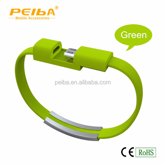 2016 Mini Short Flat Bracelet Wrist Band Colored USB cable Wrist Band 2.0 Sync Data Charger cable