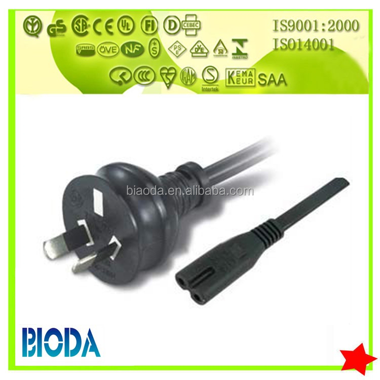 7.5a 250v SAA approval IEC C7 Power Cord With Connectors