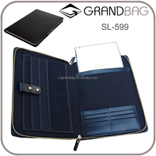 Double-zipper around men's genuine leather clutch business A4 document bag portfolios fashion briefcase for ipad