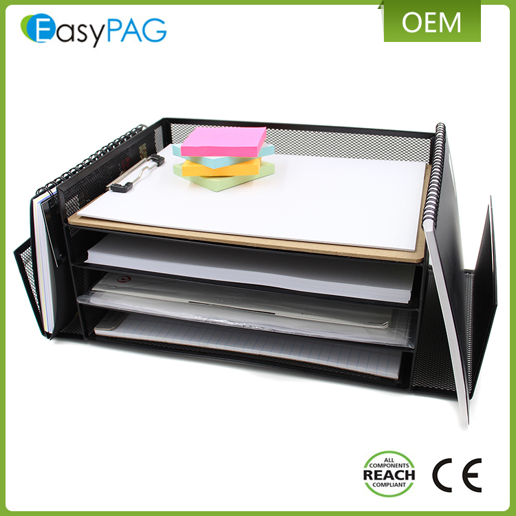 Best quality black document tray office desk organizer magazine holder letter / file tray