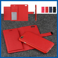 C&T Red Card Slot PU Leather Wallet Case 2 in 1 Magnetic Detachable Back Cover Flip Case For Apple iPhone 6