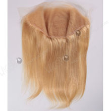 super quality 13in by 6in straight Malaysian virgin hair light blonde lace frontal