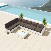 White greece style wicker hand made L sofa with coffee table outdoor garden furniture