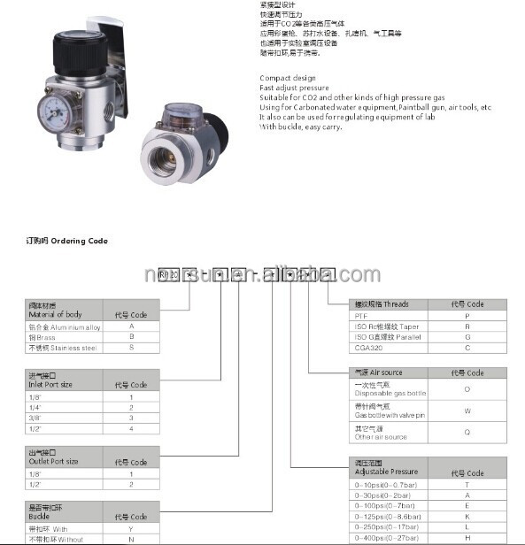 SS316 co2 regulator/mini co2 regulator