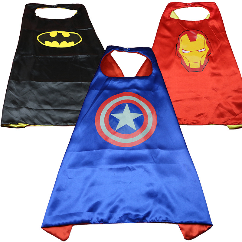 factory Hot SaleHalloween children's cloak Revenge alliance Masquerade costumes Double-sided captain Amer kid's Superhero Cape
