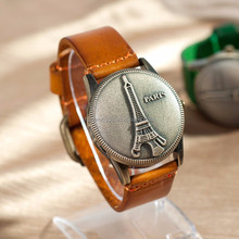 Hot selling orange color high quality vintage genuine leather bracelet antique novel quartz watch with Eiffel Tower flip