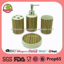 Ceramic Colorful Stripe Ceramic Bathroom Accessories Set