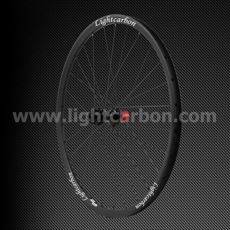 "2014 LIGHTCARBON mtb 26"" thru-axle wheelset cross country straight pull mountain carbon fiber bike wheels"