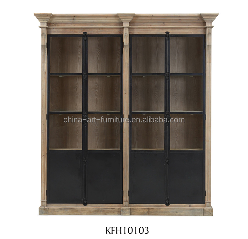 Rustic industrial standing tall Glass <strong>cabinet</strong> with latch iron door, Antique bookcase, Dining living study room disply furniture