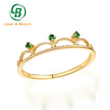 14k solid gold jewelry triple emerald 1 gram gold ring