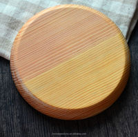 Natural wood round hand carved wood plate