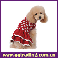 Chihuahua Wholesale lovely dot dress cable knit winter warm fashion design knit pet dog sweater