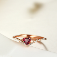 fashion jewelry 925 Sterling Silver adjustable Wedding Engagement Ring with garnet stone KR2106S
