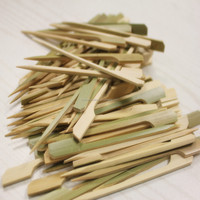 bamboo paddle skewer ,green skin gun shaped flag skewer barbecue /BBQ stick