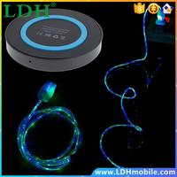 Qi Wireless Charging Pad + LED Light Micro USB Sync Data Charger Cable Cord For Samsung Galaxy Note 5 S7 S6 S6 Edge Mobile Phone