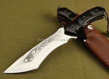 Doshower fixed blade knife with leather sheath of big knives