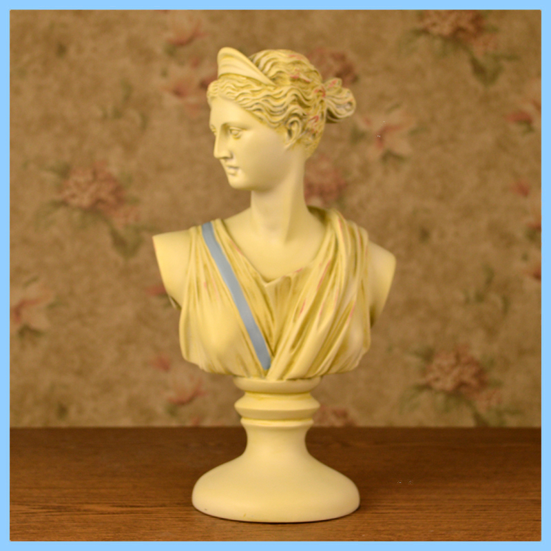 Ancient European style; White Retro female bust statue For Home Decoration