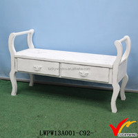 FSC Wood White Foot Rest Antique Bed End Stool