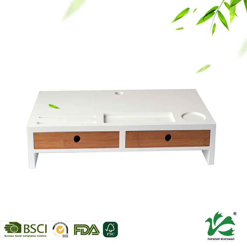Desk organizer office computer desk monitor stand bamboo with white paint
