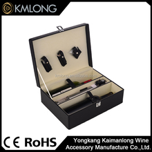 wine bottle leather box with hight quality electric wine opener tools gift sets