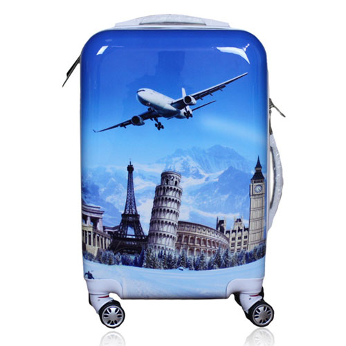 New Design Tower Plane Print Luggage Case, ABS+PC Travel Universal Wheel Student Luggage (BXST1491)