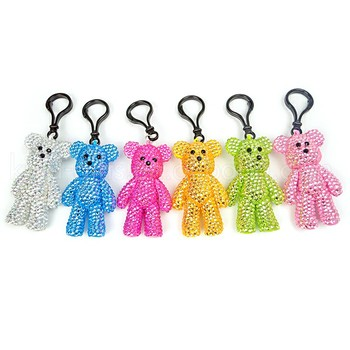 Fancy Bling Bling Clear Crystal Beaded Keychains Animal Element Plastic Teddy Bear Keychain