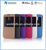 PU Leather Flie Case with Window for Samsung S5 I9600,with Window and Stand Design