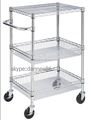 3 tier Chrome Basket Wire Shelving Trolley