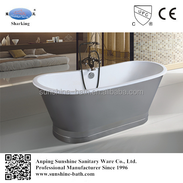 67 Inch Deep Stainless Steel Sheet Cast Iron Porcelain Bathtub For Soaking