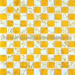 2015 cheap mirror glass mosaic,gold dragon,yellow and white,fashion,living room