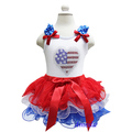 Girls Red White Blue Tutu 4th July USA Flag Heart Patriotic Tee Party Dress 2pcs 1-7Y