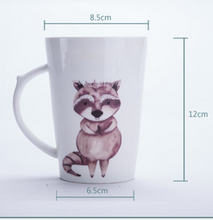hot selling tapered shape porcelain ceramic coffee mug cup with animal pattern