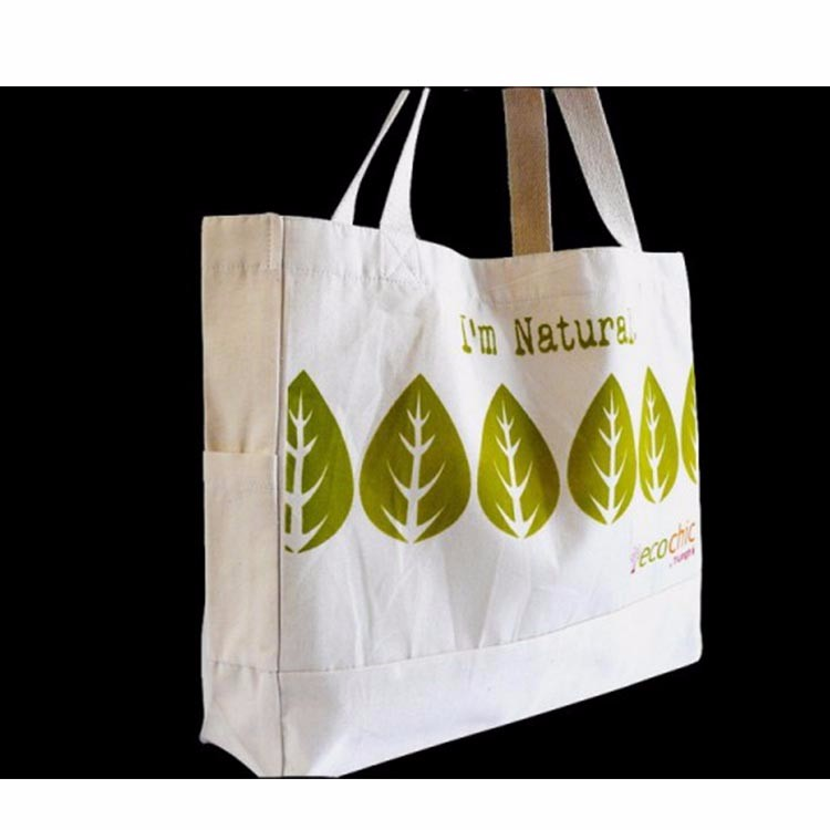 custom single color one side printed canva tote bags with pocket on broadside
