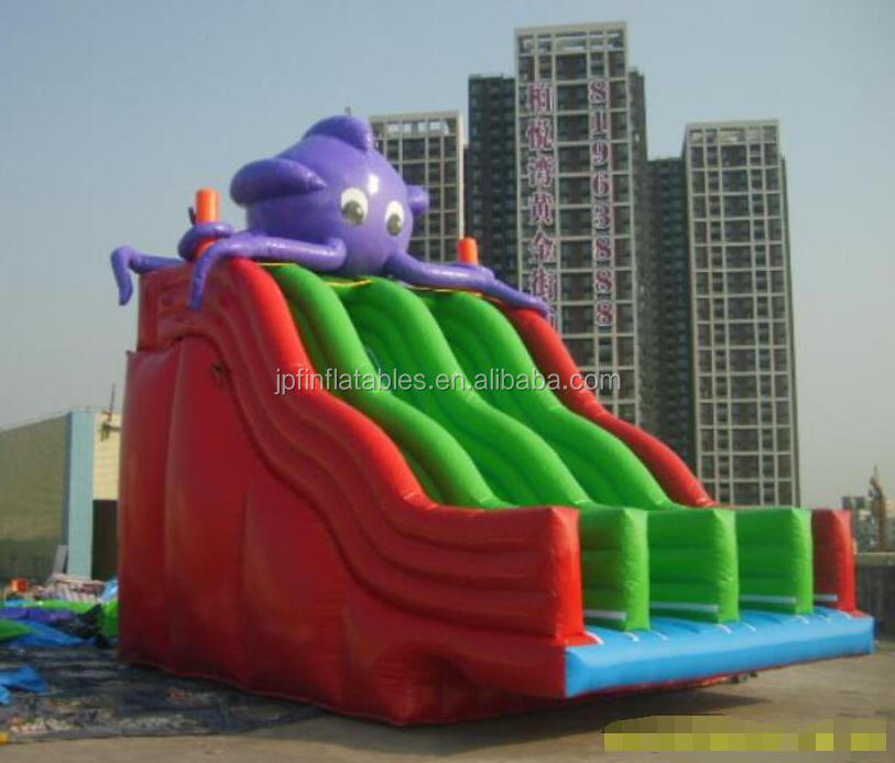 3 Lanes water park type Octopus inflatable water slide with pool for rental