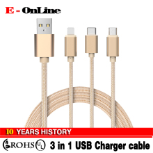 3 IN 1 Braided Type c/Micro Usb/8 pin Charger Cable For iphone 6 6s plus 5s ipad mini macbook Samsung Galaxy S6 Xiaomi huawei